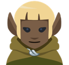 Man Elf Emoji with Dark Skin Tone, Facebook style