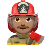 Man Firefighter Emoji with a Medium Skin Tone, Apple style