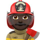 Man Firefighter Emoji with a Dark Skin Tone, Apple style