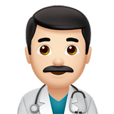 Man Health Worker Emoji with Light Skin Tone, Apple style