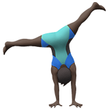 Person Cartwheeling Emoji with Dark Skin Tone, Apple style