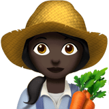 Woman Farmer Emoji with a Dark Skin Tone, Apple style