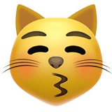 Kissing Cat Face with Closed Eyes Emoji, Apple style
