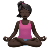 Person in Lotus Position Emoji with Dark Skin Tone, Apple style