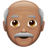 Old Man Emoji with a Medium Skin Tone, Apple style