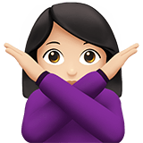 Woman Gesturing No Emoji with a Light Skin Tone, Apple style