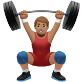 Man Lifting Weights Emoji with Medium Skin Tone, Apple style