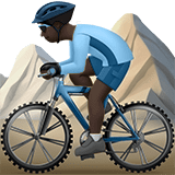 Person Mountain Biking Emoji with Dark Skin Tone, Apple style