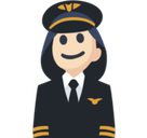Woman Pilot Emoji with Light Skin Tone, Facebook style