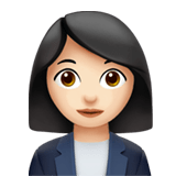 Woman Office Worker Emoji with a Light Skin Tone, Apple style