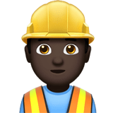 Man Construction Worker Emoji with a Dark Skin Tone, Apple style
