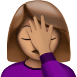Woman Facepalming Emoji with a Medium Skin Tone, Apple style