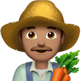 Man Farmer Emoji with Medium Skin Tone, Apple style