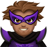 Man Supervillain Emoji with Medium Skin Tone, Apple style