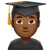 Man Student Emoji with Medium-Dark Skin Tone, Apple style