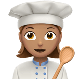 Woman Cook Emoji with a Medium Skin Tone, Apple style