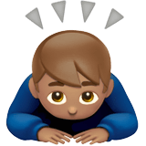 Man Bowing Emoji with a Medium Skin Tone, Apple style