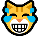 Laughing Cat Emoji / Cat Face with Tears of Joy Emoji, Microsoft style