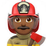 Man Firefighter Emoji with a Medium-Dark Skin Tone, Apple style