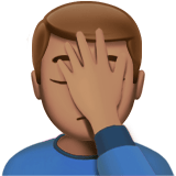 Man Facepalming Emoji with a Medium Skin Tone, Apple style