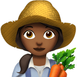 Woman Farmer Emoji with Medium-Dark Skin Tone, Apple style