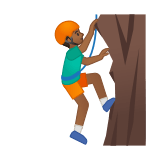 Man Climbing Emoji with Medium-Dark Skin Tone, Google style