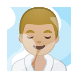 Man in Steamy Room Emoji with Medium-Light Skin Tone, Google style