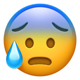 Face with Open Mouth & Cold Sweat Emoji, Apple style