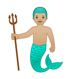 Merman Emoji with Medium-Light Skin Tone, Google style