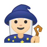 Woman Mage Emoji with Light Skin Tone, Google style