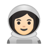 Woman Astronaut Emoji with a Light Skin Tone, Google style