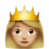 Princess Emoji with Medium-Light Skin Tone, Apple style