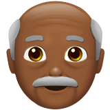 Old Man Emoji with Medium-Dark Skin Tone, Apple style