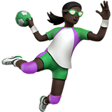 Woman Playing Handball Emoji with a Dark Skin Tone, Apple style