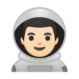 Man Astronaut Emoji with a Light Skin Tone, Google style