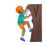 Man Climbing Emoji with Medium Skin Tone, Google style