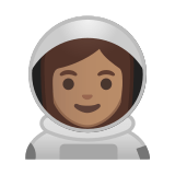 Woman Astronaut Emoji with a Medium Skin Tone, Google style