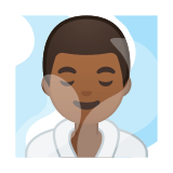 Man in Steamy Room Emoji with Medium-Dark Skin Tone, Google style