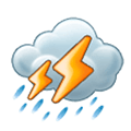 Cloud with Lightning and Rain Emoji, Samsung style