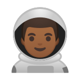 Man Astronaut Emoji with a Medium-Dark Skin Tone, Google style