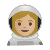 Woman Astronaut Emoji with a Medium-Light Skin Tone, Google style