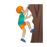 Man Climbing Emoji with Medium-Light Skin Tone, Google style