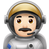 Man Astronaut Emoji with a Light Skin Tone, Apple style