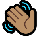 Waving Hand Emoji with a Medium Skin Tone, Microsoft style