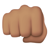 Oncoming Fist Emoji with a Medium Skin Tone, Apple style