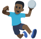 Man Playing Handball Emoji with Dark Skin Tone, Facebook style