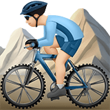 Man Mountain Biking Emoji with a Light Skin Tone, Apple style