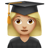 Woman Student Emoji with a Medium-Light Skin Tone, Apple style