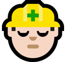 Man Construction Worker Emoji with Light Skin Tone, Microsoft style