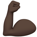 Flexed Biceps Emoji with a Dark Skin Tone, Apple style